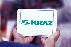 KrAZ trucks manufacturer logo. Logo of KrAZ trucks manufacturer on samsung tablet. KrAZ is a Ukrainian factory that produces trucks and other special-purpose Stock Images