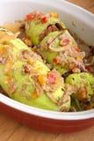 Kürbis angefüllt mit Gemüse und Fleisch Lizenzfreies Stockfoto
