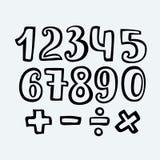 Kreśląca wolnej ręki chrzcielnica Zarysowywa, liczby i symbole ilustracji