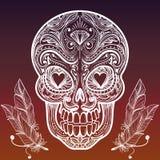 Kreślący meksykańscy piórka i czaszka royalty ilustracja