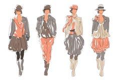 Kreślący Retro mod kobiet modele royalty ilustracja