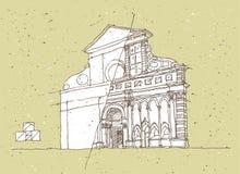 Kreślić Dziejową architekturę w Włochy royalty ilustracja