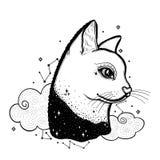 Kreśli graficznego ilustracyjnego kota z tajemniczą i occult ręką rysujący symbole również zwrócić corel ilustracji wektora Astro ilustracji