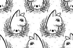 Kreśli graficznego ilustracyjnego kota z tajemniczą i occult ręką rysujący symbole również zwrócić corel ilustracji wektora Astro ilustracja wektor