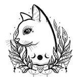 Kreśli graficznego ilustracyjnego kota z tajemniczą i occult ręką rysujący symbole również zwrócić corel ilustracji wektora Astro royalty ilustracja