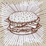 Kreśli hamburgeru lub hamburgeru loga projekta wektorowego szablon fast food, restauracyjna ikona Ręka rysujący rocznik ilustraci royalty ilustracja