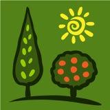 Kreśli kolorowego drzewa i słońca na zielonym tle Zdjęcie Royalty Free