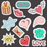 Kreśli komiczki Ustawiać majchery z sercami, mowa bąble, tekst chłodno, miłość, błyskawica, wargi, pierścionki, okulary przeciwsł zdjęcie stock