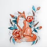 Kreśli lisy w kwiatach na białym tle Obrazy Stock