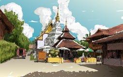 Kreśli pejzaż miejskiego Chiangmai, Tajlandia, przedstawienia Wata lokalny świątynny d Obrazy Stock