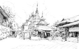 Kreśli pejzaż miejskiego Chiangmai, Tajlandia, przedstawienia Wata lokalny świątynny d Zdjęcia Stock