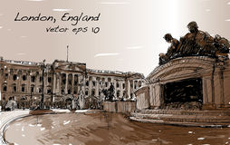 Kreśli pejzaż miejskiego Londyński Anglia, przedstawienie teren publiczny, zabytki Zdjęcie Stock