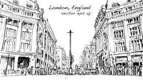Kreśli pejzaż miejskiego Londyn, Anglia, przedstawienie zaludnia spacer ulicę Obraz Royalty Free
