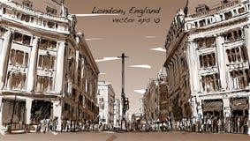 Kreśli pejzaż miejskiego Londyn, Anglia, przedstawienie zaludnia spacer ulicę Zdjęcia Royalty Free