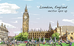 Kreśli pejzaż miejskiego Londyn domy parlament i Big Ben Zdjęcia Royalty Free