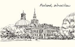 Kreśli pejzaż miejskiego Polska, Wrocławski miasto, wolna ręka remisu illustr Obrazy Royalty Free