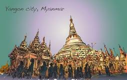 Kreśli pejzaż miejskiego Yangon, Myamar Shwedagon pagoda wizerunek Zdjęcie Royalty Free