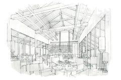 Kreśli perspektywiczną wewnętrzną restaurację, czarny i biały wewnętrzny projekt Zdjęcia Stock