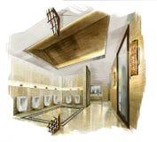 Kreśli perspektywiczną wnętrza BUBLIC toaletę w akwarelę na papierze Zdjęcia Royalty Free