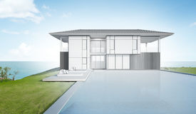 Kreśli projekt nowożytny plażowy dom i gromadzi Zdjęcia Stock