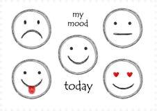 Kreśli set pięć smilies z differetn emocjami dla każdy dnia odizolowywającego na białym, horyzontalnym wektorze, royalty ilustracja