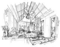 Kreśli wewnętrzną perspektywiczną sypialnię, czarny i biały wewnętrzny projekt Obrazy Stock