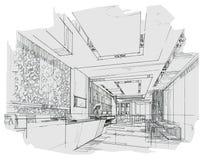 Kreśli wewnętrznego perspektywicznego przyjęcie, czarny i biały wewnętrzny projekt Obraz Royalty Free