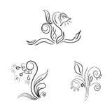 Kreśli z kwiatami, doodles, wektorowa ilustracja Zdjęcia Royalty Free