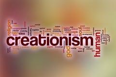 Kreacjonizmu słowa chmura z abstrakcjonistycznym tłem Obrazy Stock