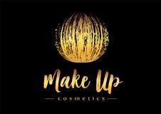 Kreativ bilden Sie Logo Goldener Anschlag Mmascara-Bürste in der Bereichform Kosmetisches Beschaffenheitsdesign des runden Vektor vektor abbildung