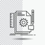 Kreativ, Entwurf, entwickeln Sie sich, Feedback, Deckungslinie Ikone auf transparentem Hintergrund Schwarze Ikonenvektorillustrat vektor abbildung