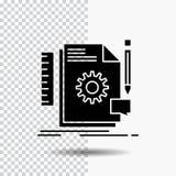 Kreativ, Entwurf, entwickeln Sie sich, Feedback, Unterstützungsglyph-Ikone auf transparentem Hintergrund Schwarze Ikone stock abbildung
