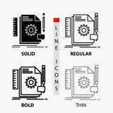 Kreativ, Entwurf, entwickeln Sie sich, Feedback, Unterstützungsikone in der dünnen, regelmäßigen, mutigen Linie und in der Glyph- vektor abbildung