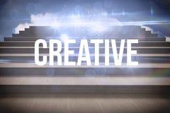 Kreativ gegen Schritte gegen blauen Himmel vektor abbildung