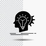 kreativ, Kreativität, Kopf, Idee, denkende Glyph-Ikone auf transparentem Hintergrund Schwarze Ikone vektor abbildung