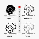kreativ, Kreativität, Kopf, Idee, denkende Ikone in der dünnen, regelmäßigen, mutigen Linie und in der Glyph-Art Auch im corel ab lizenzfreie abbildung