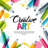 Kreativ, Kunst und Konzept des Entwurfes Vector Fahnen-, Plakat- oder Rahmenhintergrund mit Kalligraphie, Bleistifte, Aquarellspr vektor abbildung