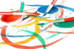 Kreativ - Pinsel u. Farbe stockfotos