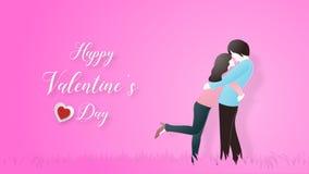 Kreativ vom Liebesvalentinsgrußtageskonzept Liebespaarumarmung auf rosa Pastellhintergrund vektor abbildung