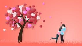 Kreativ vom Liebesvalentinsgrußtageskonzept Liebespaarumarmung unter Liebesherz-Baumhintergrund vektor abbildung