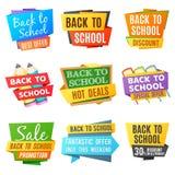 Kreativ zurück zu Schulvektor-Werbungsfahnen stock abbildung
