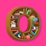 Kreative Bücher drucken auf Bücherregal in der isometry Art Bunte Bücher und Frauensachen Stockbild