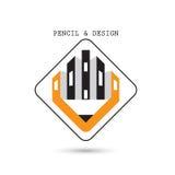 Kreative Bleistiftikonenzusammenfassungslogodesign-Vektorschablone Corpo Lizenzfreie Stockfotos