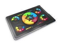 Kreative bunte Kreisdiagramme der Illustration 3D auf der Tablette, Geschäftskonzept Lizenzfreie Stockfotos