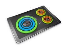 Kreative bunte Kreisdiagramme der Illustration 3D auf der Tablette, Geschäftskonzept Lizenzfreie Stockbilder