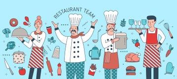 Kreative Fahne mit dem Leiter, Koch, Kellner und Kellnerin umgeben durch Nahrungsmittel, Mahlzeiten und kochen Werkzeuge Restaura stock abbildung
