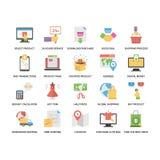 Kreative flache Ikonen eingestellt vom Einkaufen und vom Handel Lizenzfreie Stockfotografie