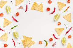 Kreative flache Lage der Draufsicht von neuen mexikanischen Lebensmittelinhaltsstoffen mit Tortilla Nachoschipknoblauchpfeffer-Ka lizenzfreies stockfoto