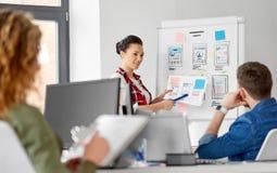 Kreative Frau, die Benutzerschnittstelle im Büro zeigt stockfoto