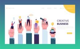 Kreative Geschäftsleute in der Hand, die Ziel-Landungs-Seite erreichen Geschäftsmann-Führer Working zu Erfolgs-Digital-Leistung lizenzfreie abbildung